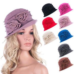 808255ba11c Womens 1920s Vintage Style 100 % Wool Knit Cloche Beret Bucket Hat A287