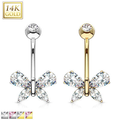 14K Solid GOLD Triangle Gem BELLY Button NAVEL Bar RINGS Studs Piercing Jewelry