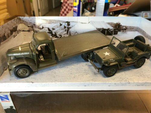 Newray G-SCALE 1//32 1941 Chevy Military Flatbed Truck /& Willys Jeep Diecast NEW