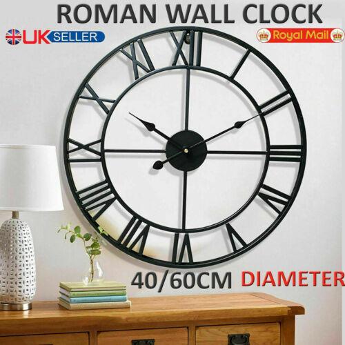 LARGE OUTDOOR GARDEN WALL CLOCK BIG ROMAN NUMERALS GIANT OPEN FACE METAL 40,60CM