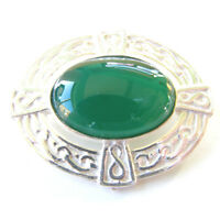Sterling Silver Celtic Brooch. Hallmarked Silver Celtic Brooch With Green Agate