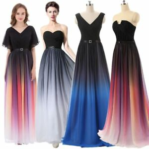 Plus Size Gradient Chiffon Evening Dress Formal Gowns Long Ombre