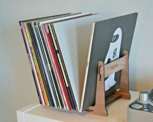 Vinyl Record Storage Holder Double Ended Rack Stand, 35-60 Records Walnut Veneer