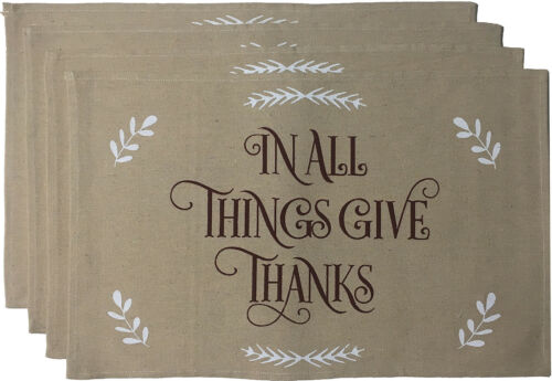Printed Decorative Fall//Thanksgiving Tapestry Placemats Set of 4