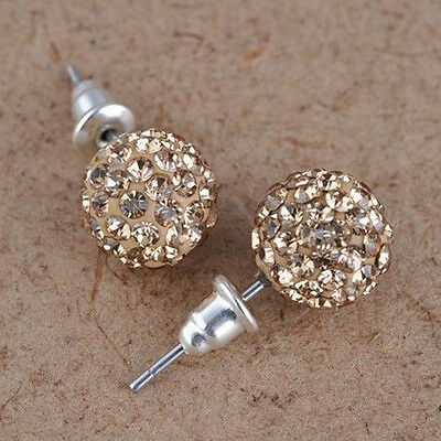 10 mm Austrian Crystal Pave Disco Clay Ball Beads Steel Ear Stud Earrings Gifts