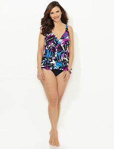 22w Size Tankini Palm Floral Hidden Catherines Plus Nuovo Swimdress Multi 3x UO5qwacHq