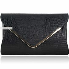 New Black Croc Print Envelope Wedding Ladies Party Prom Evening Clutch Hand Bag