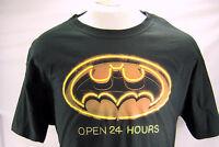 Batman (dc Comics) Large Mens T-shirt - Neon Bat Logo Open 24 Hours Black