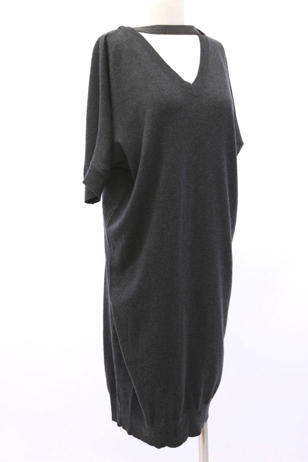 NWT  Brunello Cucinelli 100% Cashmere Knit Dress W Collar Beading Sz M A181
