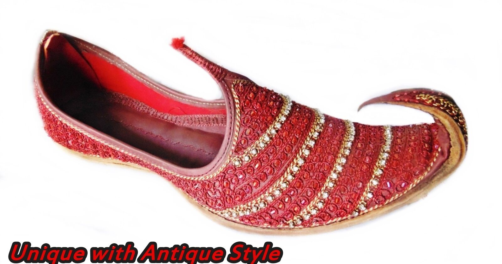 096b1aa11394 RED MEN HANDMADE -TRADITIONAL SHOES WITH GOLDEN CUT WORK  BEADS-LEATHER-KHUSSA 14c34a