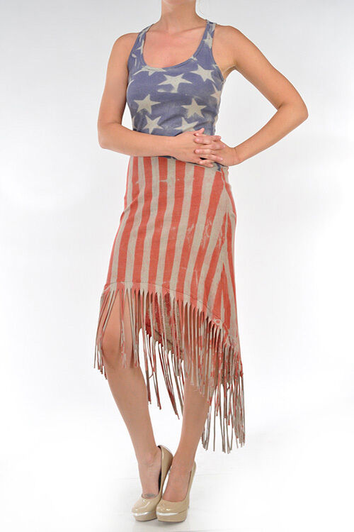 T-PARTY Vintage Red Beige & bluee Fringed American Flag Ribbed Maxi Dress New