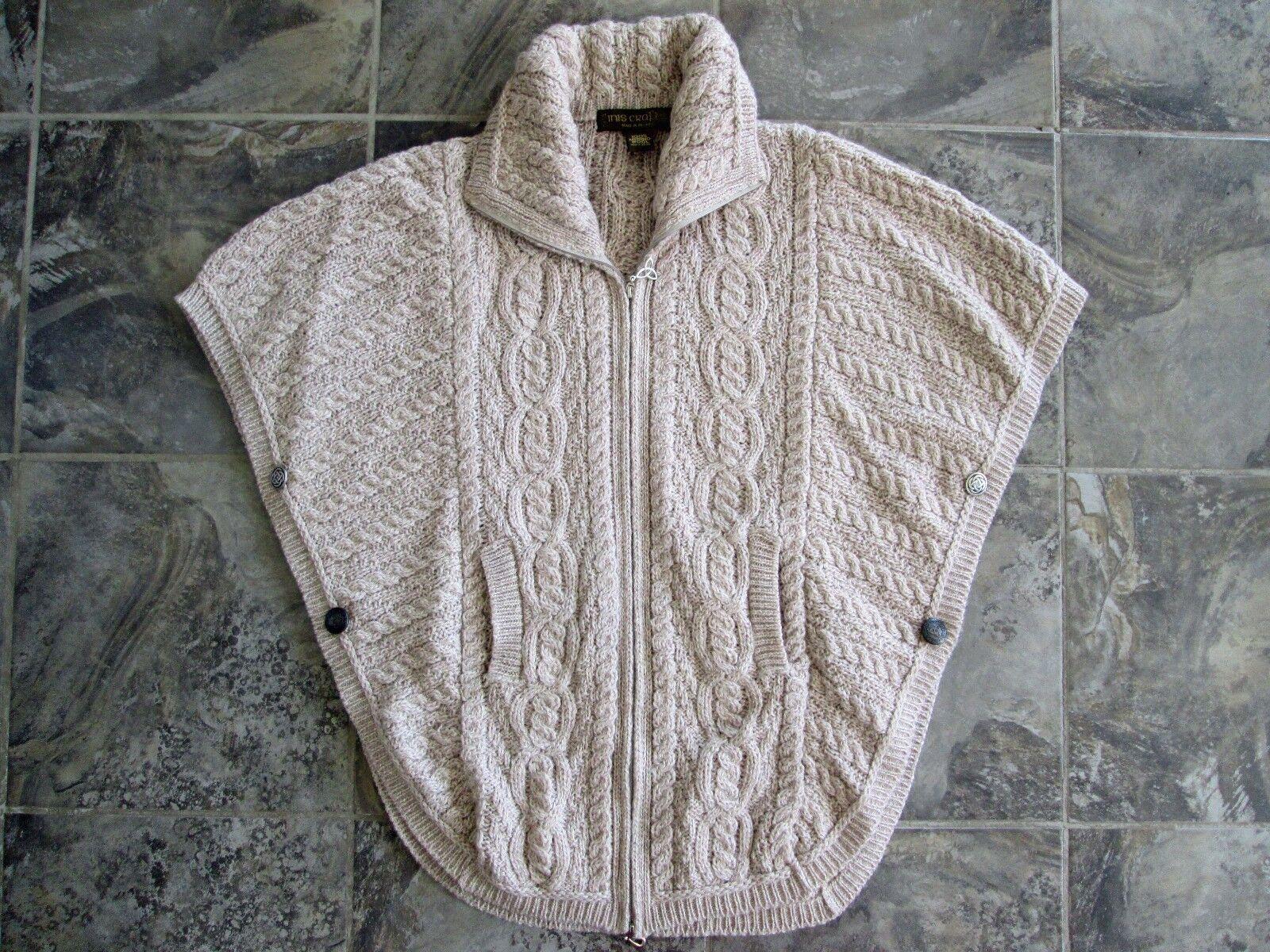 Inis Crafts Sweater Cardigan Zip 100% Merino Wool Batwing Small Medium Large EUC