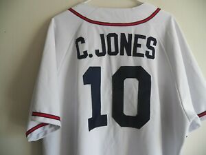 the latest 59612 06754 Details about VINTAGE CHIPPER JONES ATLANTA BRAVES MAJESTIC WHITE MLB  BASEBALL JERSEY XXL 2XL