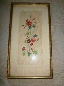Ancien Cadre Dore Avec Aquarelle Ou Gouache Sur Matiere Naturel/fleurs/signe