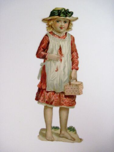 Vintage Die Cut of Barefooted Girl Carrying A Lunch Basket N