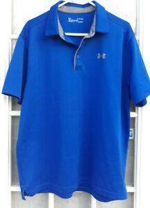 Men's Under Armour Heat Gear Loose Short Sleeve Golf Polo Shirt Blue Size XL