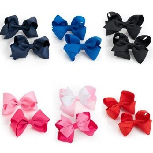 2 PACK HAIR BOW GIRLS CLIPS SCHOOL RIBBON 4 INCH HANDMADE SLIDES ACCESSORY PAIR