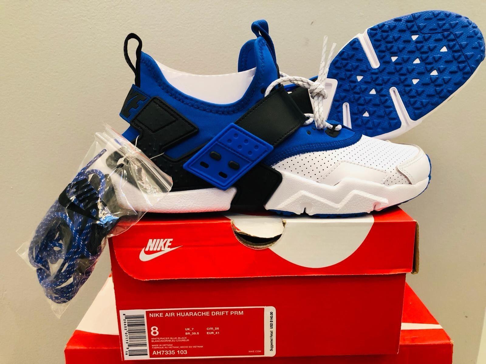 Mens size 8 Nike Air Haurache Drift PRM AH7335 103 White Racer blueee Black
