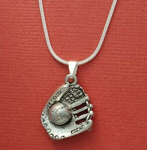 Softball-Mitt-Necklace-Silver-Plated-Charm-Pendant-and-Chain-Baseball-glove