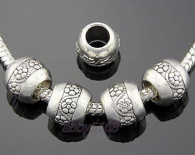 30pcs Tibetan Silver Flower Charm Beads Big Hole Fit Bracelet ZN134