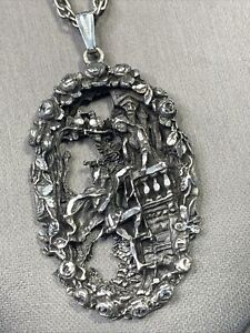 Vintage-1950-s-Pewter-Romeo-and-Juliet-DETAILED-WOW-Chain-Sweater-Necklace-24