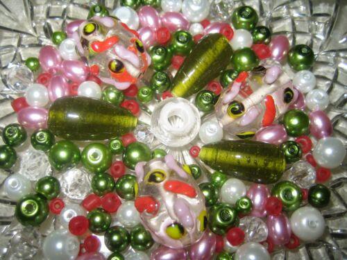 Cuentas de vidrio Mix//perlas Mix 90 unidades Lampwork perlas malva//Rosé//verde oliva verde//blanco