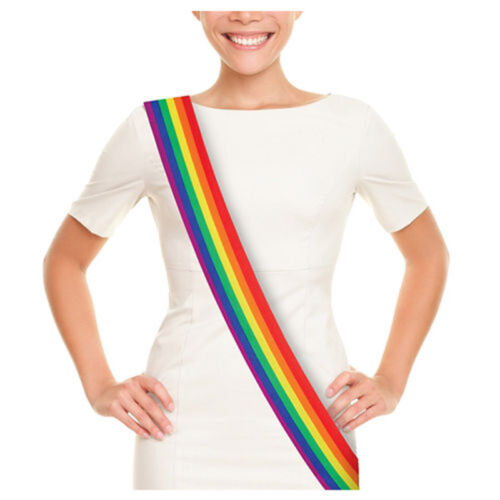 Gay Pride Rainbow Sash Fabric Hen Stag Party Festival Marches LGBT Celebration