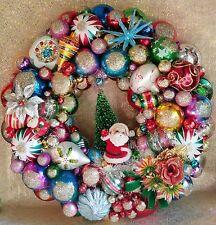 Flash SALE! Custom Orders Welcome! Christmas Wreath Santa Vintage Ornaments