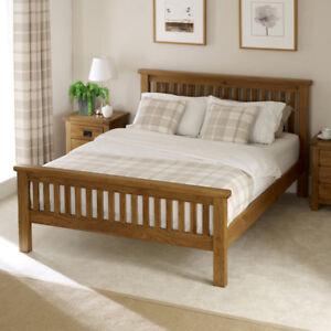 Image is loading Rustic-Solid-Oak-5ft-King-Size-Bed-High- & Rustic Solid Oak 5ft King Size Bed - High Foot Board - Slatted ...