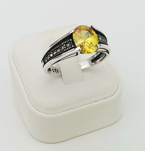 Details about  /Handmade 925 Sterling Yellow Zircon /& Marcasite STONES Men/'s Woman/'s Ring