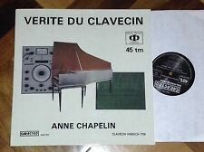 "SARASTRO AUDIOPHILE FRENCH 12"" LP 45 RPM ANNE CHAPLIN HARPSICHORD KILLER SOUND !"