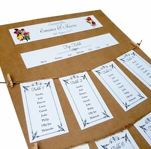 Personalised-Vintage-A3-Wedding-Table-Plan-Seating-Plan-with-twine-and-pegs