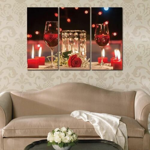 Modern Vins Red Wine Cup Bottle Canvas Paintings Wall Art Picture Set Bar Dining