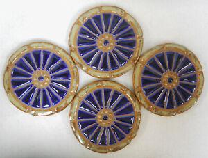 WAGON WHEEL Mosaic Handmade Ceramic Tile Coasters Royal Blue Spokes Set of 4