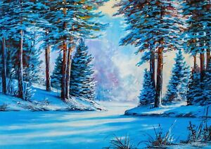 A1-Christmas-Forest-Poster-Art-Print-60-X-90cm-180gsm-Sunrise-Snow-Gift-16814