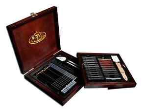 51 Piece Professional Premier Sketching Pencils Drawing Art Set Model Kit Case