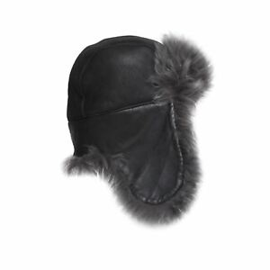 UGG-TOSCANA-LONG-PILE-TRAPPER-LEATHER-BLACK-SHEEPSKIN-WOMEN-039-S-HAT-ONE-SIZE-NEW