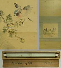YK543 KAKEJIKU Wood Box Bird Animal Hanging Scroll Japanese Art painting Picture