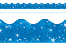 Blau Glänzend Grandiose Bordüre Klassenzimmer Schautafel Anzeige Ränder - 10m