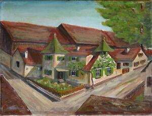 Gemaelde-Bild-Kunstwerk-Dorfstrasse-Dorfszene-sign-034-Tuerk-034-Sammlerstueck-Unikat