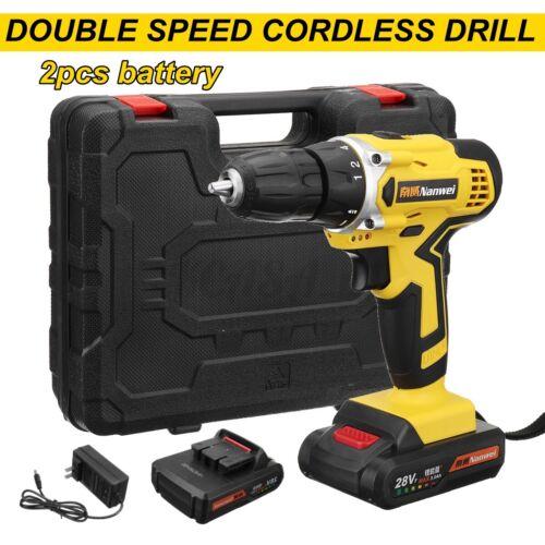 28V 3//8/'/' Electric Cordless Drill Driver Screwdriver w// 2 Batteries