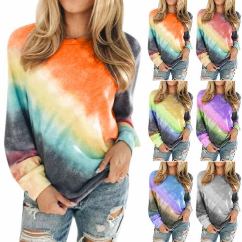 Women Long Sleeve Rainbow Tie Dye Pullover T-Shirt Loose Jumper Tops Sweatshirt