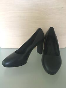 RRP-49-LADIES-M-amp-S-SIZE-7-5-WIDER-FIT-INSOLIA-BLACK-COURT-SHOES-FREE-POST