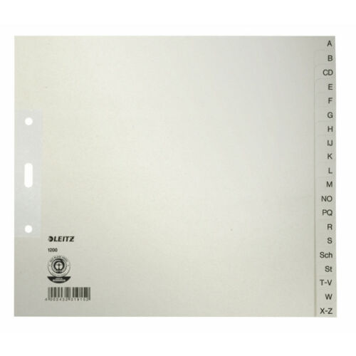 A4 Leitz Papierregister A-Z Papier grau Leitz; #Register# 12000... 20 Blatt