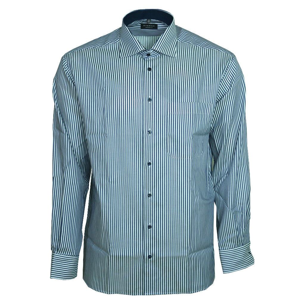 Eterna Herrenhemd Langarm Comfort Fit Blau Weiß gestreift XL 43  8982 19 E15K      Neuer Stil