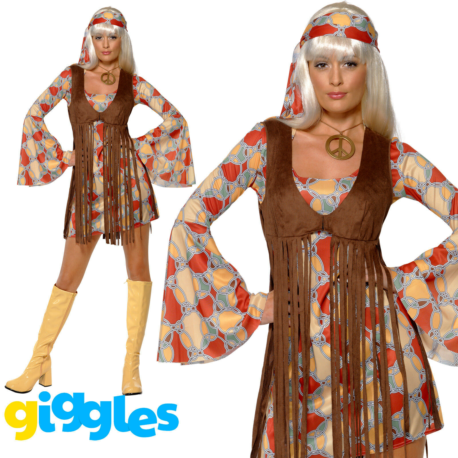 Ladies 60s 60/'s 1960s Hippy Chick Fancy Dress Costume Outfit by Smiffys New