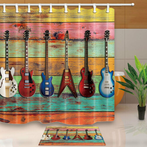 Musical instruments Shower Curtain set Guitar on colored boards Bathroom curtain