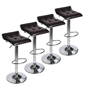 Phenomenal Details About Set Of 4 Bar Stools Pu Leather Swivel Counter Height Pub Dining Chair Kitchen Lamtechconsult Wood Chair Design Ideas Lamtechconsultcom
