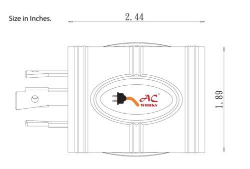 Compact Generator Adapter NEMA L14-30P to NEMA L6-30R by AC WORKS®