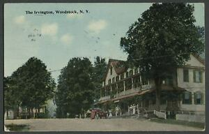 Woodstock-Ulster-Co-NY-1907-10-Postcard-THE-IRVINGTON-HOTEL-In-Village-Square